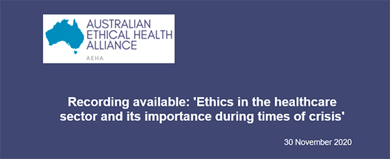 """Recording available """"Ethics in the healthcare sector and its importance in times of crisis"""