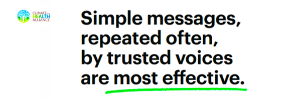Simple messages, repeated often, by trusted voices and most effective