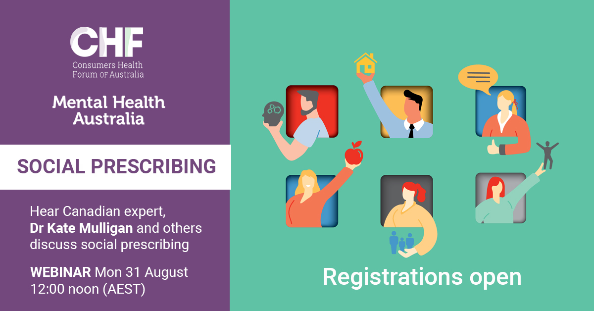Hear Canadian expert, Dr Kate Mulligan and others discuss social prescribing - WEBINAR Mon, 31 August 12:00 pm (AEST) Registrations open