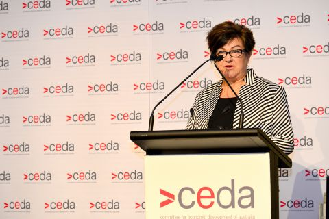 Leanne Wells speaking to CEDA