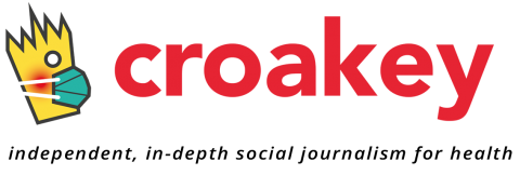 Croakey independent, in-depth social journalism for health and character wearing a mask